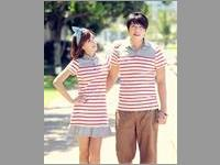 Baju Couple Stripes Stitching Lapel VBCP.CDR9.AM