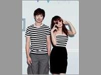 Baju Couple Stripes Stitching Tee Dress VBCP.CD10.PH